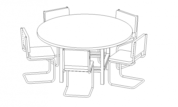A round table with five chairs